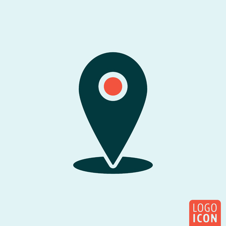 Location mark icon. Location mark logo. Location mark symbol. Location icon isolated minimal design. Location point icon. Check-in icon. Vector illustration. Иллюстрация