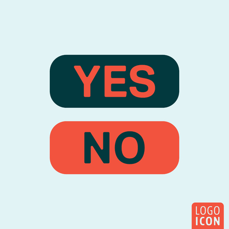 yes or no: Yes or No icon. Yes or No logo. Yes or No symbol. Yes or No button icon isolated minimal design. Vector illustration.