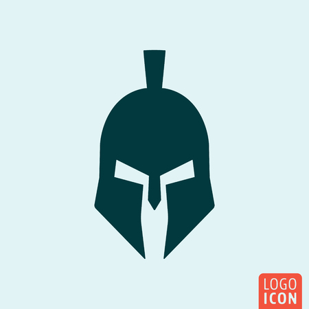 Trojan icon. Trojan logo. Trojan symbol. Gladiator helmet icon isolated minimal design. Vector illustration. Ilustração