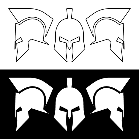 roman: Ancient roman or greek helmet. Helmets front and side view, silhouette line design. Vector illustration.