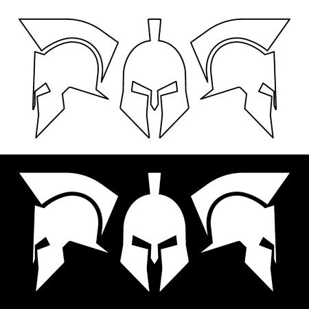soldati romani: Antico romano o elmo greco. Caschi vista frontale e laterale, il design silhouette linea. Illustrazione vettoriale.