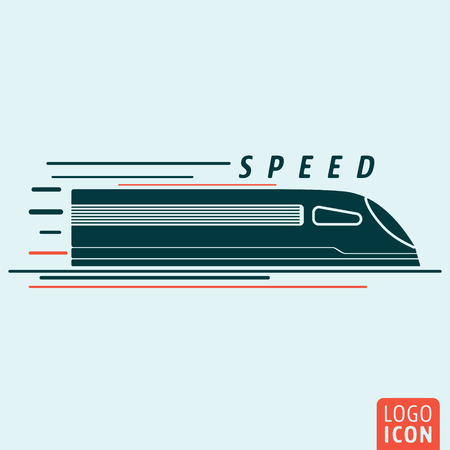 Train icon. Train logo. Train symbol. High speed train icon isolated, minimal design. Vector illustration