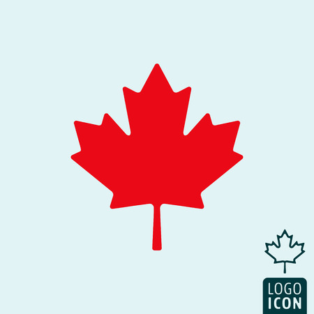 Canada icon. Canada logo. Canada symbol. Maple leaf icon isolated, minimal design. Vector illustration