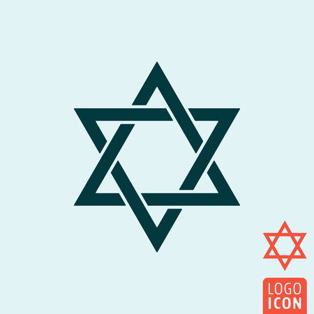 hanuka: Star of David icon. Star of David symbol. Judaism religion icon isolated, minimal design. Vector illustration