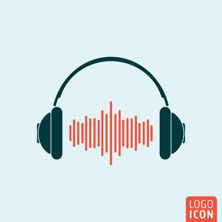 Icône de casque. Logo pour casque d'écoute. Symbole d'écouteur. Casque avec icone d'onde sonore isolée, conception minimale. Illustration vectorielle