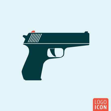 hand gun: Gun icon. Gun logo. Gun symbol. Hand gun icon isolated, minimal design. Vector illustration