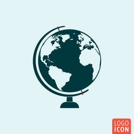 Planet earth icon world map globe symbol vector illustration globe icon globe logo globe symbol globe on stand icon isolated minimal gumiabroncs Gallery