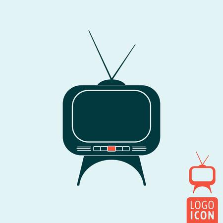 tv set: Tv set icon. Tv set logo. Tv set symbol. Retro Tv set icon isolated, minimal design. Vector illustration
