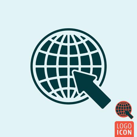 website wide window world write www: Website icon. Website logo. Website symbol. Globe with arrow icon isolated, minimal design. Vector illustration