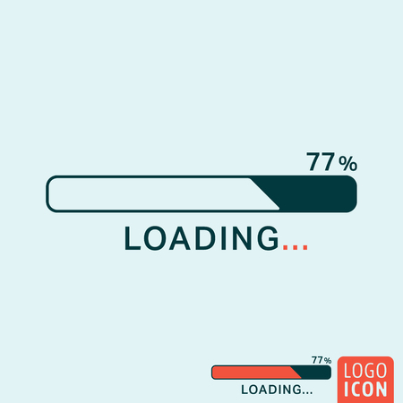 progress: Loading icon. Loading logo. Loading symbol. Progress bar icon isolated, minimal design. Vector illustration