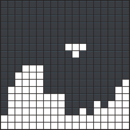 Old video game square template. White brick game pieces on dark background. Vector illustration.