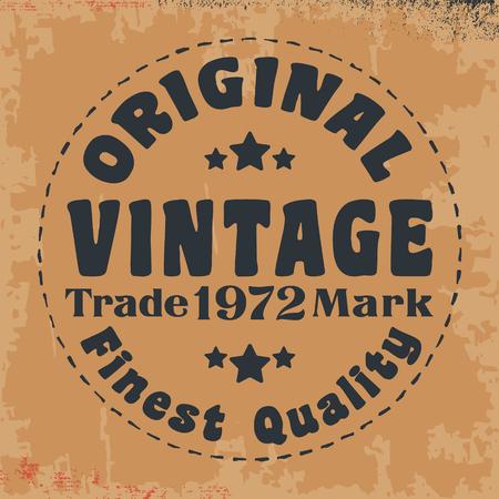 casual wear: T-shirt print design. Original vintage stamp. Printing and badge applique label t-shirts, jeans, casual wear. Vector illustration. Illustration