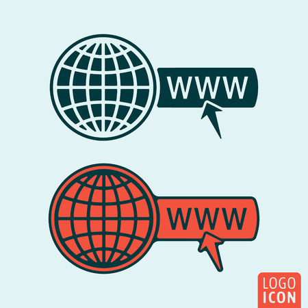 website wide window world write www: Website icon. Website logo. Website symbol. Globe with cursor icon isolated, minimal design. Vector illustration