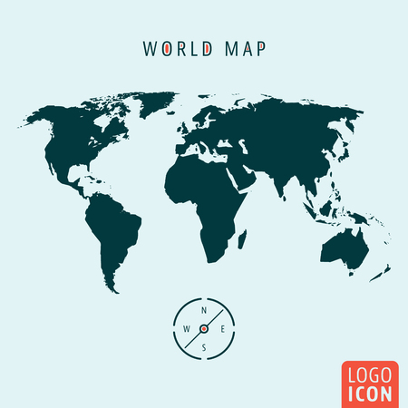 earth map: World map icon. World map logo. World map symbol. World map with compass isolated, minimal design. Vector illustration