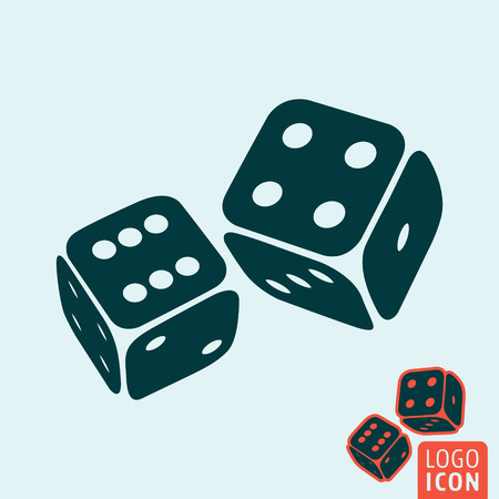 symbols: Dice icon. Dice logo. Dice symbol. Game dices icon isolated, casino symbol minimal design. Vector illustration