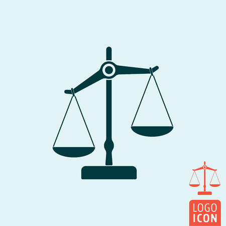 justice scale: Scale icon. Scale logo. Scale symbol. Mechanical scales icon isolated, Scales of justice minimal design. Vector illustration Illustration