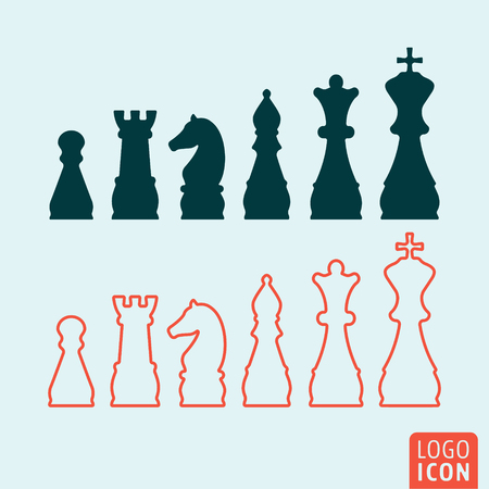 caballo de ajedrez: icono de ajedrez. logotipo del ajedrez. símbolo de ajedrez. Figuras del ajedrez icono aislado diseño, mínimo. ilustración vectorial