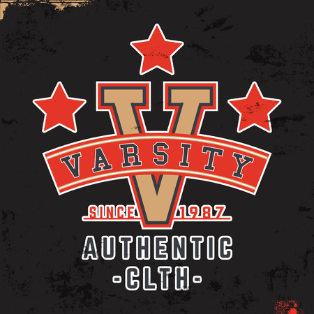 varsity: T-shirt print design. Varsity vintage stamp. Printing and badge applique label t-shirts, jeans, casual wear. Vector illustration.