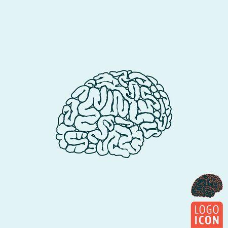 cerebro humano: Icono del cerebro. S�mbolo del cerebro. Icono del cerebro humano aislado, dise�o minimalista. ilustraci�n vectorial Vectores