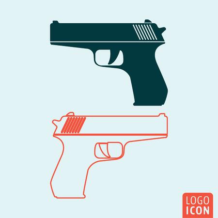 pistol gun: Gun icon. Gun symbol. Weapon icon isolated, pistol minimal design. Vector illustration
