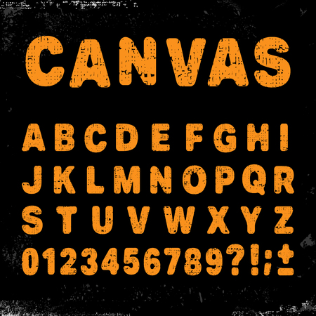 old english letter alphabet: Canvas alphabet vintage template font. Letters and numbers grunge design. Vector illustration. Illustration