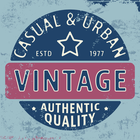 casual wear: T-shirt print design. Casual urban vintage stamp. Printing and badge applique label t-shirts, jeans, casual wear. Vector illustration.