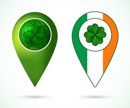 irish map: St. Patrick day icon for posters, greeting cards, brochures. Green clover with location mark and Ireland flag. Clover on globe with location mark. Vector illustration.