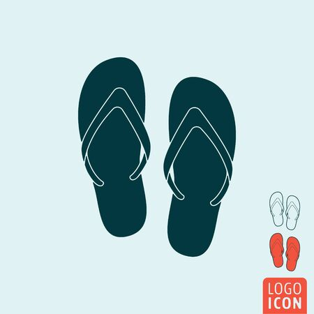 beach slippers: Beach slippers icon. Beach slippers symbol. Flip-flop icon isolated. Vector illustration