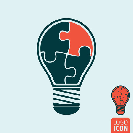 jigsaw puzzle pieces: Light bulb icon. Light bulb symbol. Light bulb with jigsaw puzzle pieces. Vector illustration