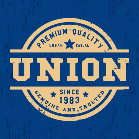 casual wear: T-shirt print design. Union vintage stamp. Printing and badge applique label t-shirts, jeans, casual wear. Vector illustration. Illustration