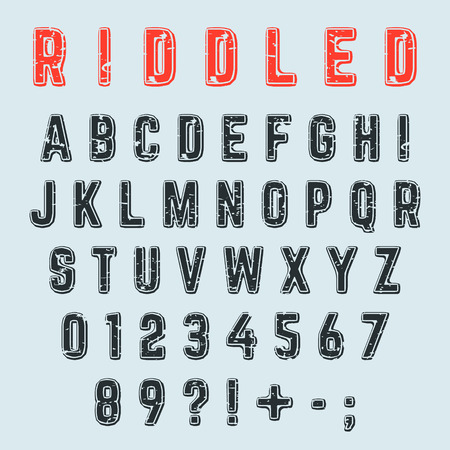 Riddled alphabet font. Letters, numbers and punctuation marks grunge design. Vector illustration.