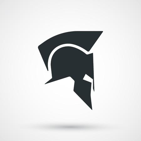 arte greca: Spartan icona casco isolato. Romano o greco silhouette casco. Antiquariato casco per la protezione della testa soldato. Illustrazione vettoriale. Vettoriali