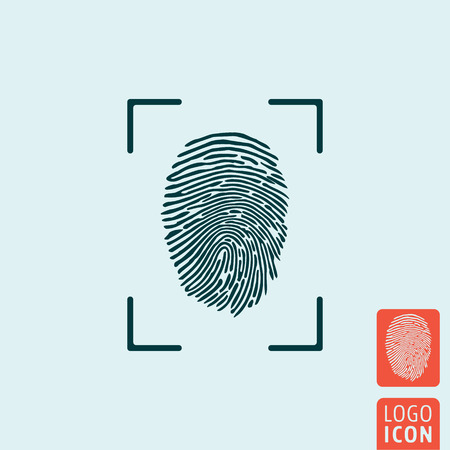 Vingerafdruk icoon. Vingerafdruk symbool. Vingerafdruk pictogram geïsoleerd. Vector illustratie logo. Logo