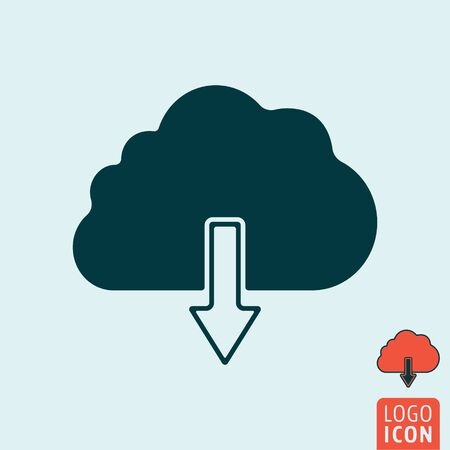 downloads: Cloud icon. Cloud symbol. Cloud download icon isolated. Vector illustration logo. Illustration