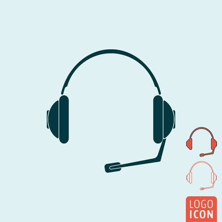 headset symbol: Headset icon. Headset symbol. Support symbol. Headphones with microphone icon isolated. Vector illustration logo.