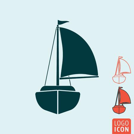 yacht isolated: Yacht icon. Yacht symbol. Sailing ship icon isolated. Vector illustration logo.