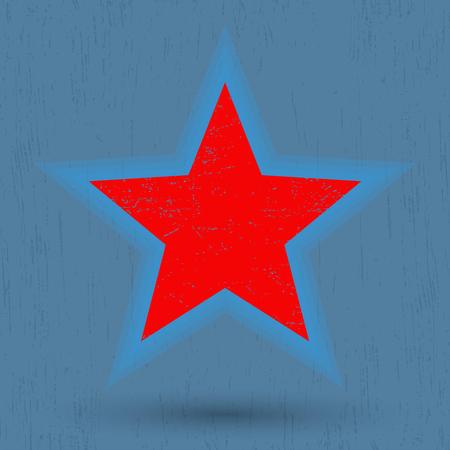 star background: Grunge red star. Red star on grunge background. Vector illustration