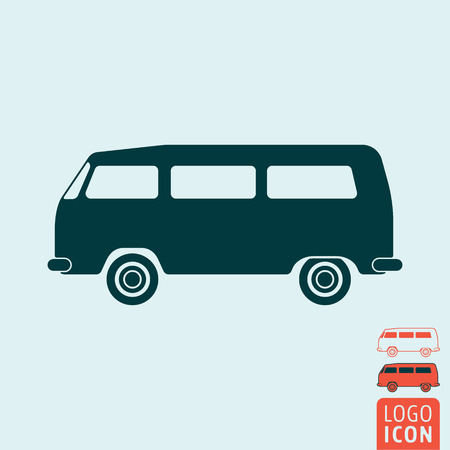 Camper bus icon. Camper bus symbol. Classic vintage minivan icon isolated. Vector illustration logo. Иллюстрация