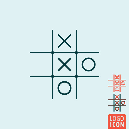 tic tac toe: Tic tac toe XO icon. Tic tac toe XO symbol. Noughts and crosses board game icon isolated. Vector illustration logo.