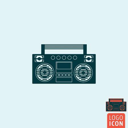 blaster: Tape recorder icon. Tape recorder logo. Tape recorder symbol. Ghetto blaster icon isolated, sound blaster minimal design. Vector illustration