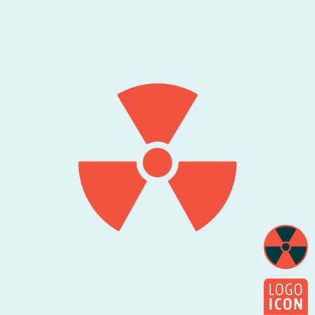 radioactivity danger logo: Radiation icon. Radiation logo. Radiation symbol. Radioactivity icon isolated, minimal design. Vector illustration Illustration