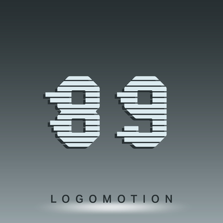 8 9: Alphabet font template. Set of numbers 8, 9 logo or icon. Vector illustration.