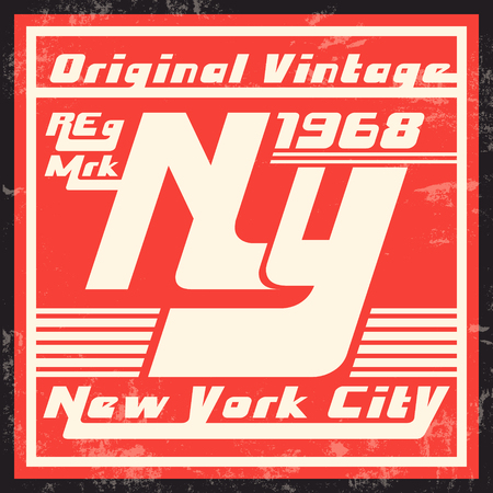 T-shirt print design. New York City vintage stamp. Printing and badge applique label t-shirts, jeans, casual wear. Vector illustration.