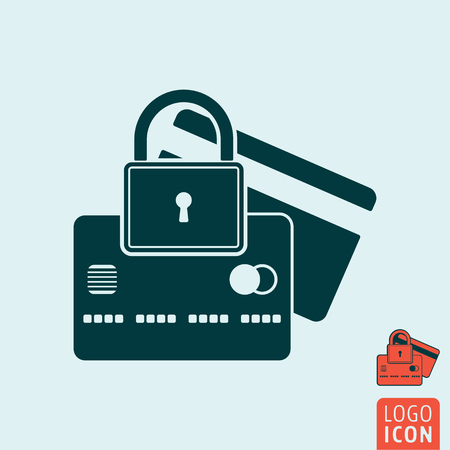 secure icon: Padlock with credit card icon. Padlock with credit card symbol. Secure payment icon isolated. Vector illustration