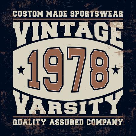 varsity: T-shirt print design. Varsity vintage stamp. Printing and badge applique label t-shirts, jeans, casual wear. Vector illustration.