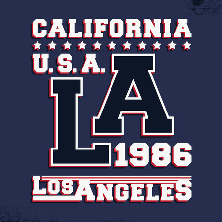 casual wear: T-shirt print design. California Los Angeles vintage stamp. Printing and badge applique label t-shirts, jeans, casual wear. Vector illustration.