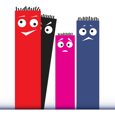 strange: Cartoon cute character monsters, strange creatures. Vector illustration