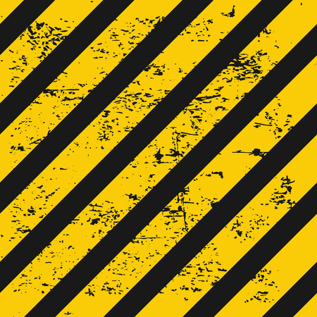 hazard stripes: Industry warning seamless background. Black and yellow diagonal stripes with grunge texture. Vector illustration.