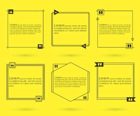 Quotes template set. Quote bubble set. Quotes square. Quote form. Quotes box template. Quote vector design illustration.