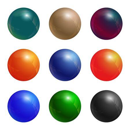 Color balls set. Colored button collection. Vector illustration